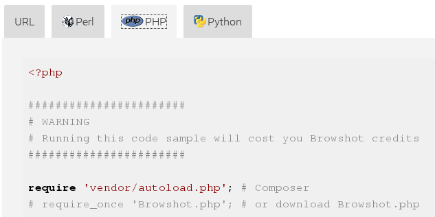 Download code samples for Perl, PHP or Python