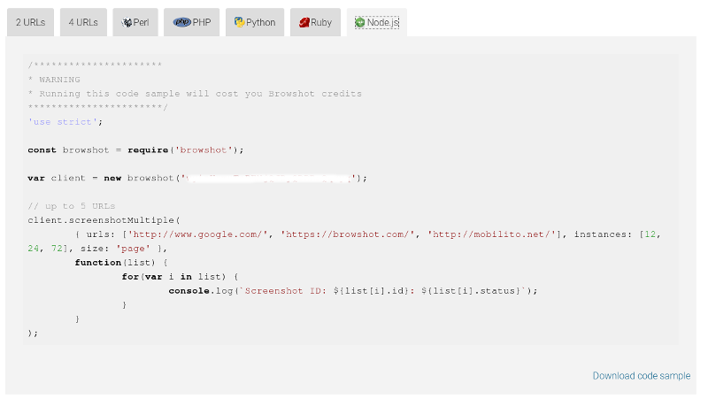 Download and run code samples for Node.js