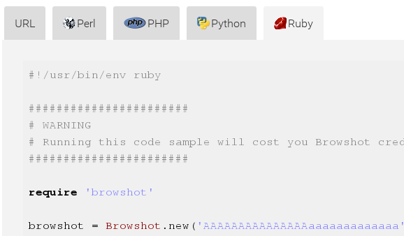 Download and run code samples for Ruby