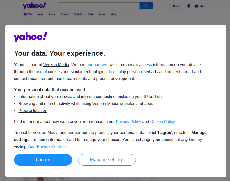Hide the Yahoo privacy popup